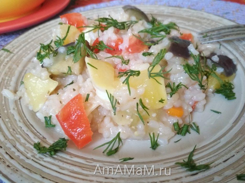 Рис с патиссонами и баклажанами
