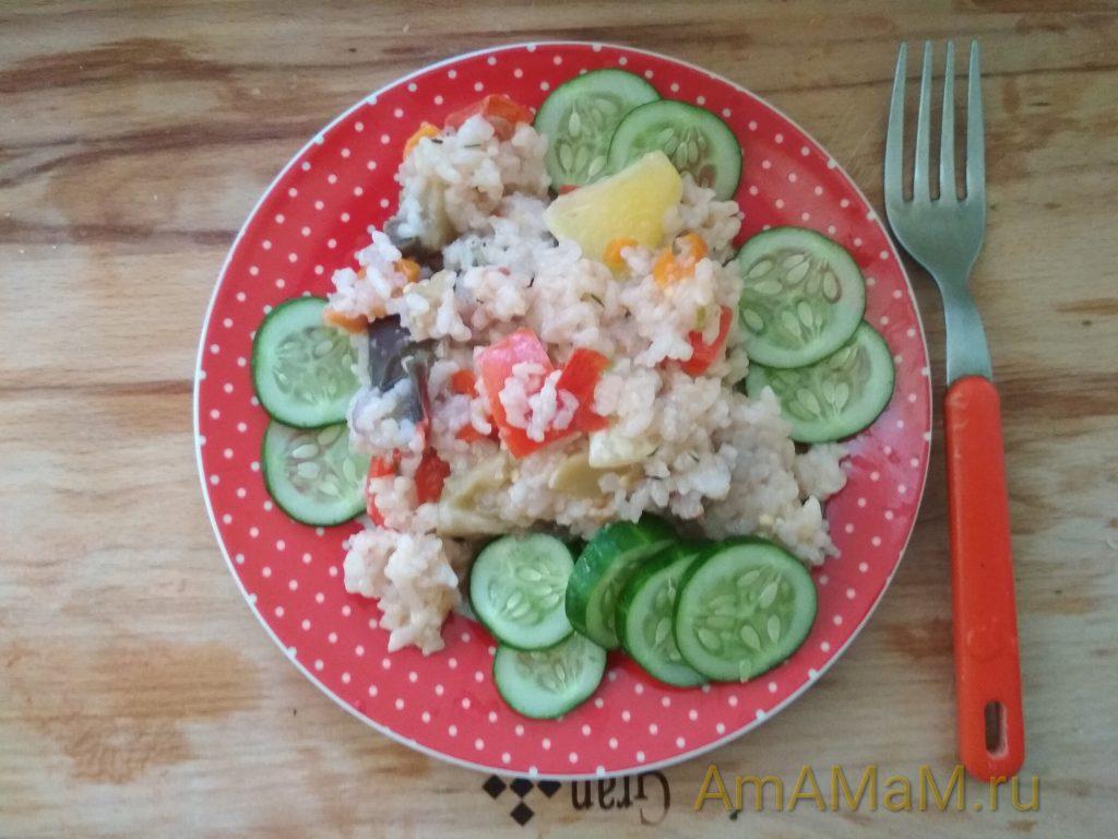 Рис с патиссонами - рецепт