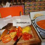 Нарезка сладкого перца для салата из баклажанов