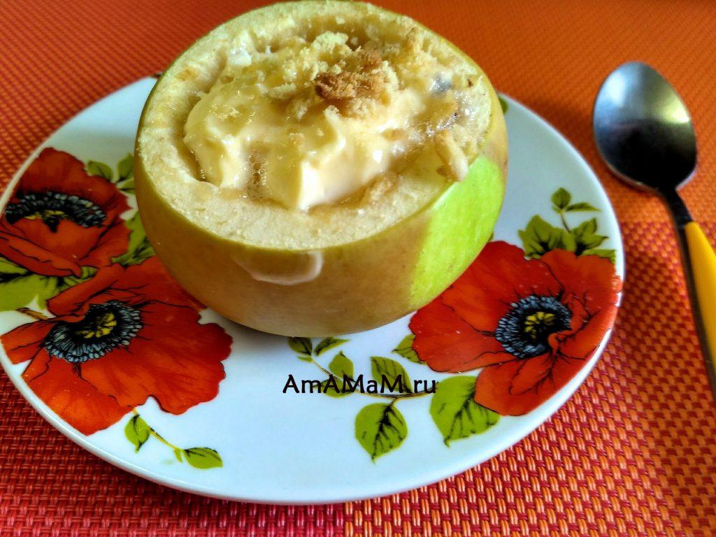 Запеканка из творожного сыра - чизкейк в яблоке
