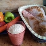 Овощи, рис, мясо индейки для рецепта в духовке