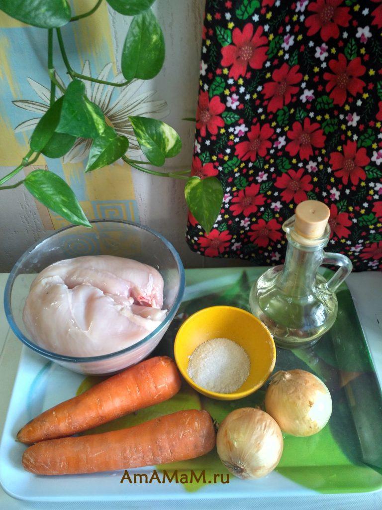 Ингредиенты рецепта тушеной куриной грудки