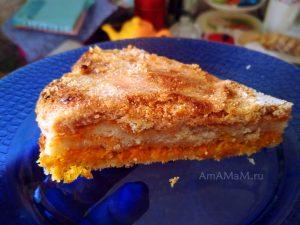 Кусочек яблочного приога с морковью