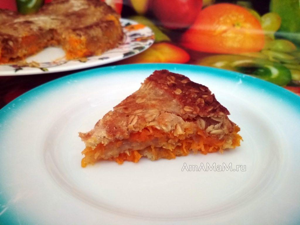 """Пирог """"3 стакана"""" насыпной с морковью и яблоками"""