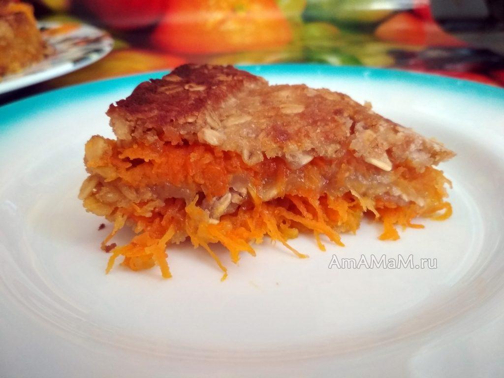 Пирог овсяный с яблоками и морковью - рецепт с фото