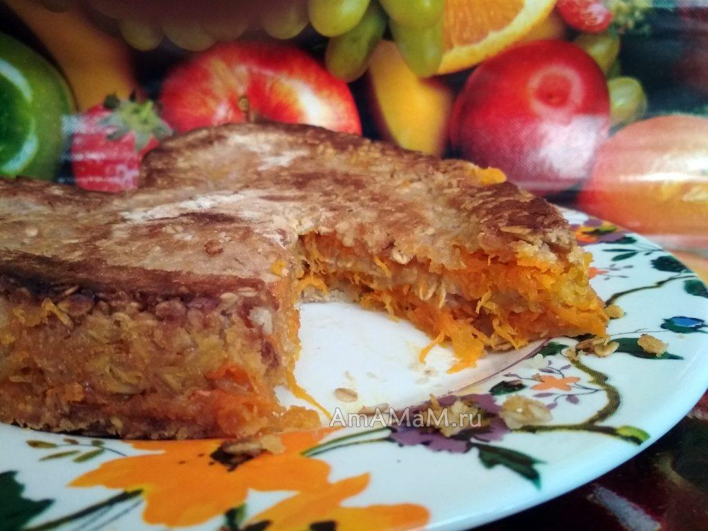 Пирог овсяный с яблоками и морковью