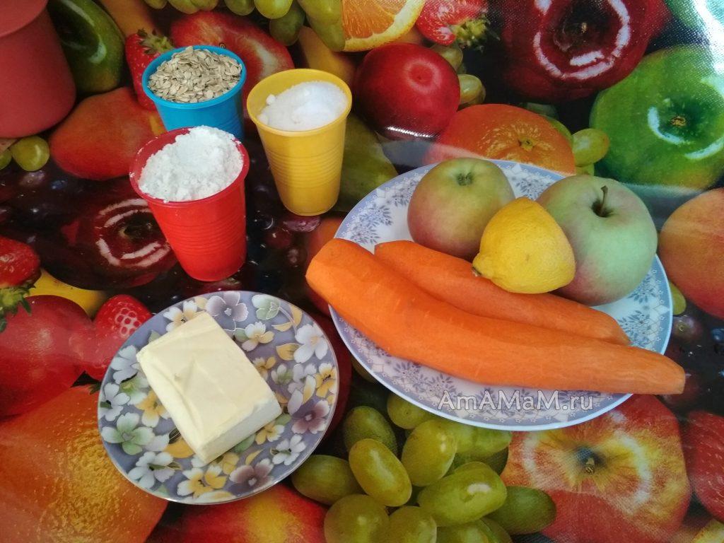 Ингредиенты овсяного пирога