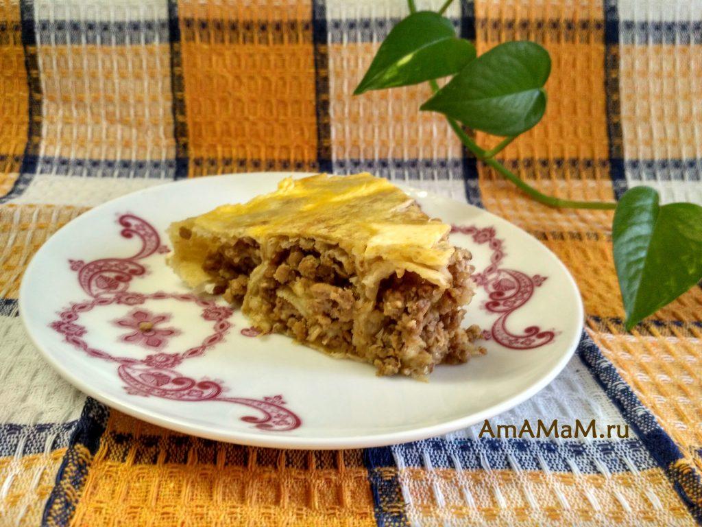 Пирог из лаваша на тарелочке