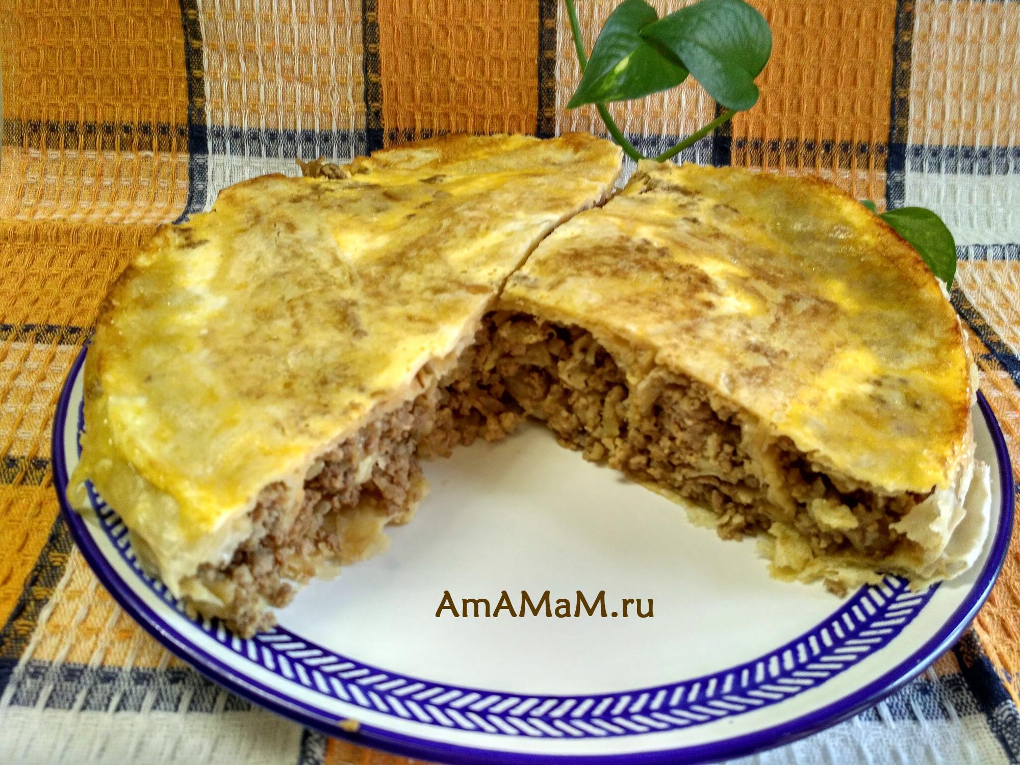 Простой и вкусный пирог из лаваша (завернут улиткой)
