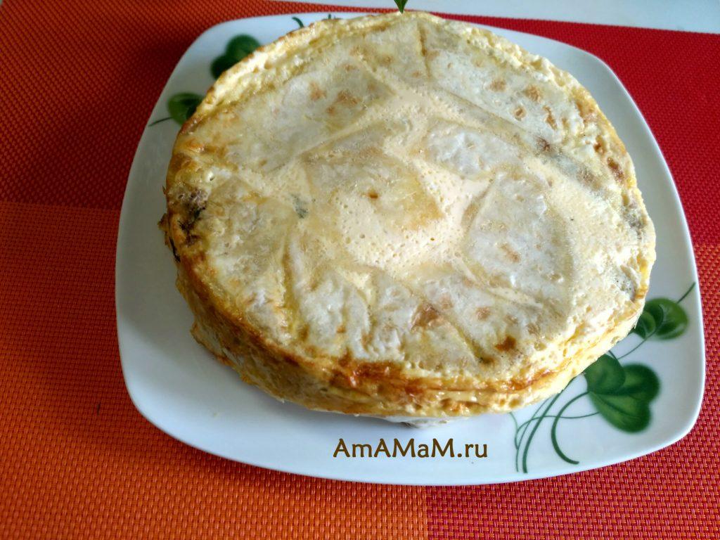 Грибной пирог из лаваша