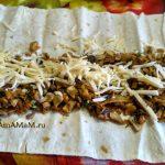 Пирог ил лаваша с грибами - этапы приготовления