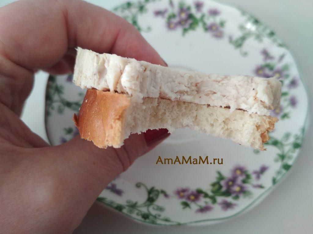 Бутерброд с куриной домашней ветчиной