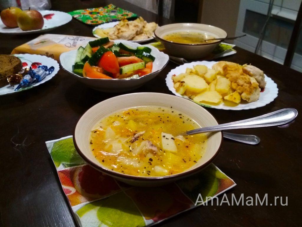 Суп куриный с рисом и яблоком