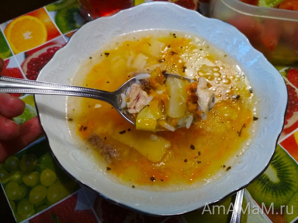 Суп рисовый с тертым яблоком