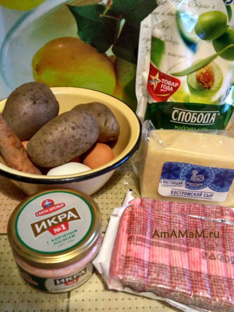 Ингредиенты салата из крабовых палочек с икрой мойвы