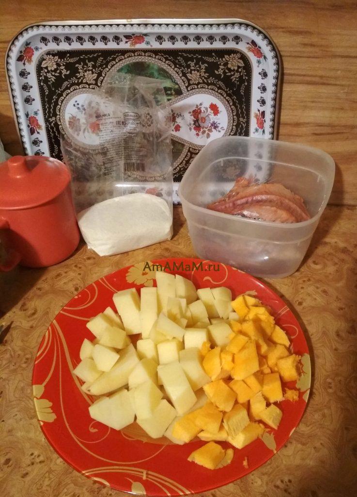 Ингредиенты рецепта супа из головы горбуши