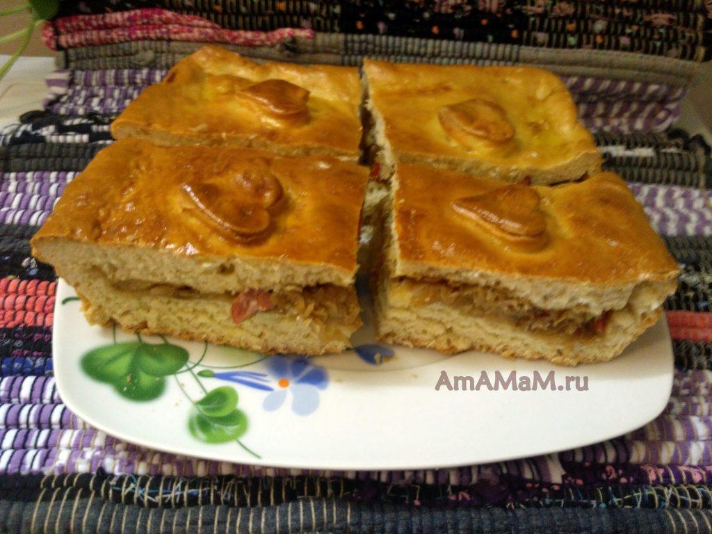Пирог с капустой в нарезке