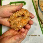 Лепка котлет из рыбного фарша с плавленым сыром