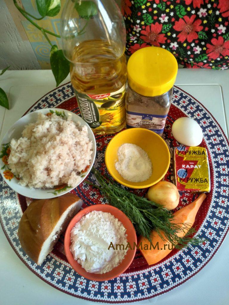 Ингредиенты котлет из рыбного фарша