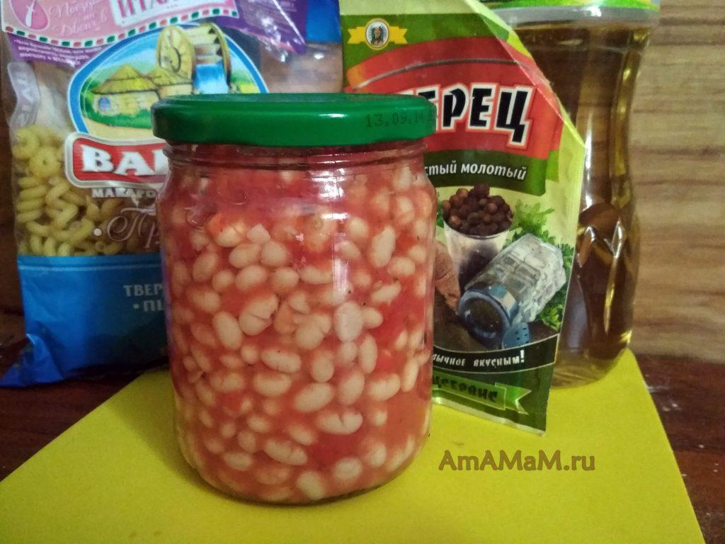 Ингредиенты блюда из фасоли в томате с макаронами
