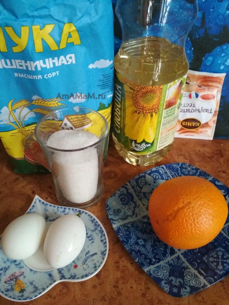 Ингредиенты простого апельсинового пирога