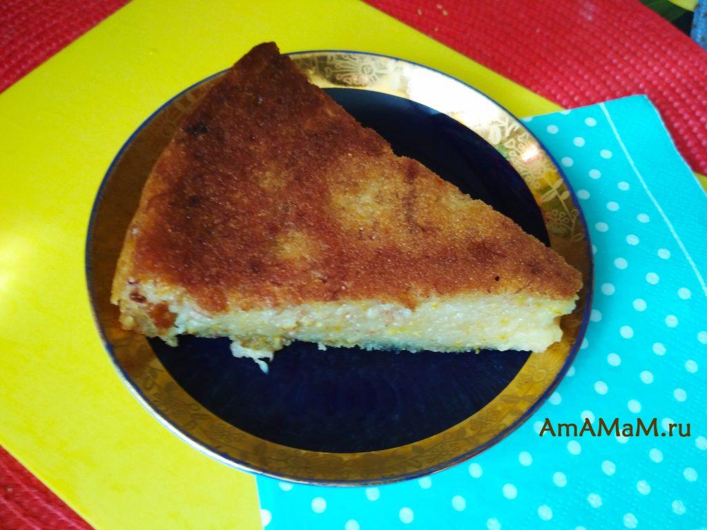 Банановый пирог с апельсинами - ломтик