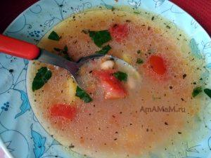Томатный фасолевый суп на курином бульоне