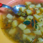 Гороховый суп с зеленым колотым горохом, картофелем и морковью