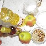 Состав продуктов для десерта из яблок в тесте и в карамели