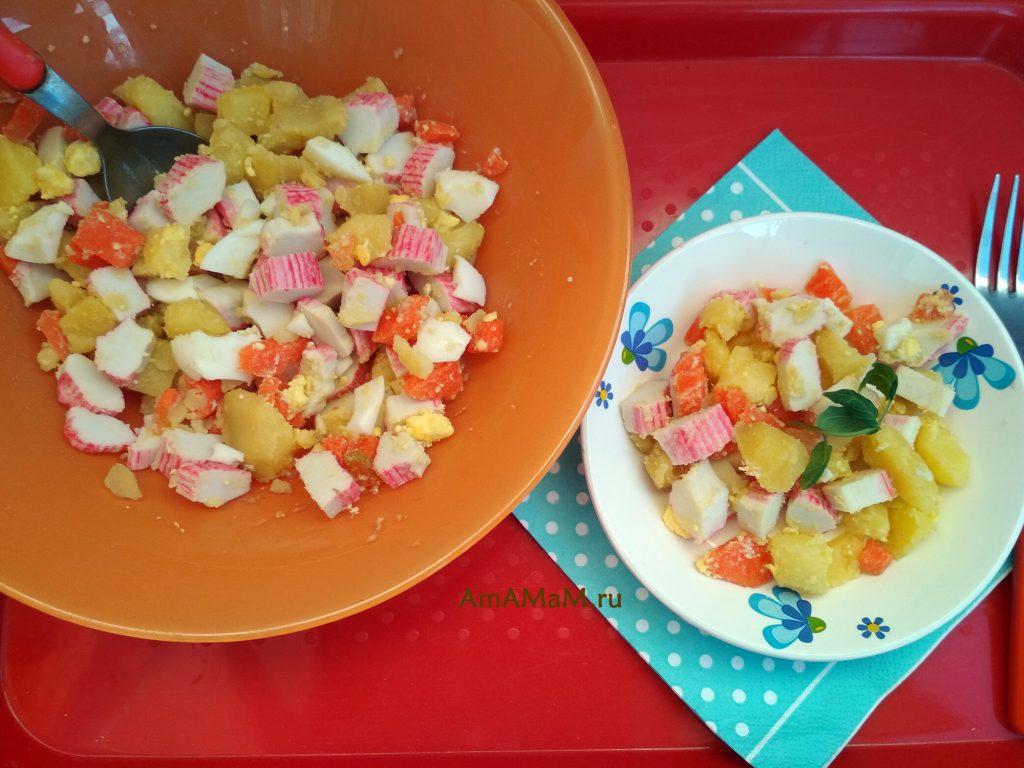 Крабовые палочки с картофелем - вкусный салат