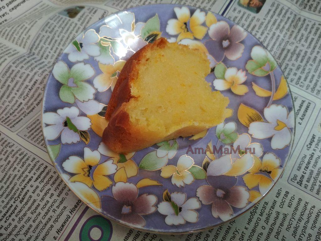 Простой кекс из аплеьсинов на воде и растительном масле