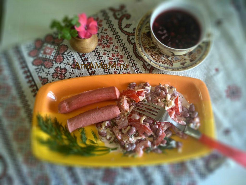 Рецепт фасолевого салата с помидорами и сыром