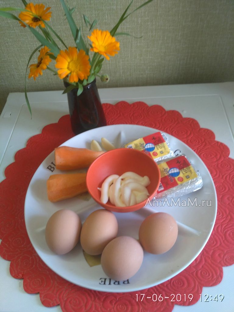 Ингредиенты салата (сырно-яичный с чесноком и морвоью