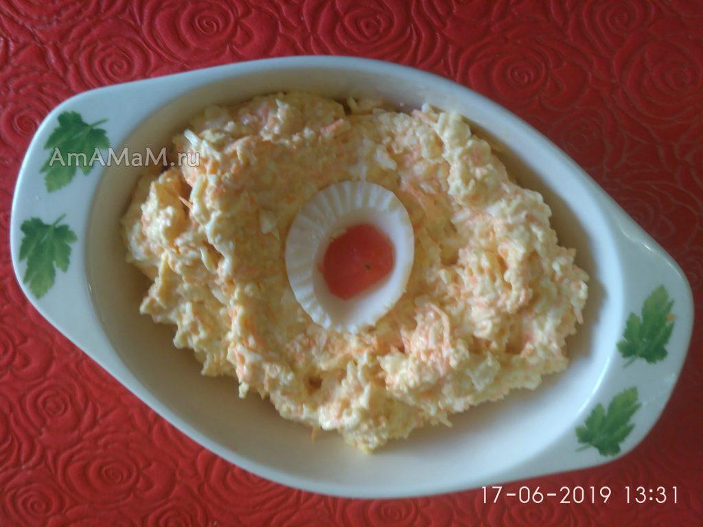 Еврейский салат из сырков и моркови