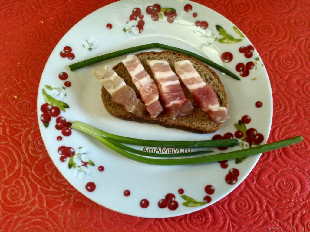 Грудинка соленая домашняя - бутербродик с зеленым луком