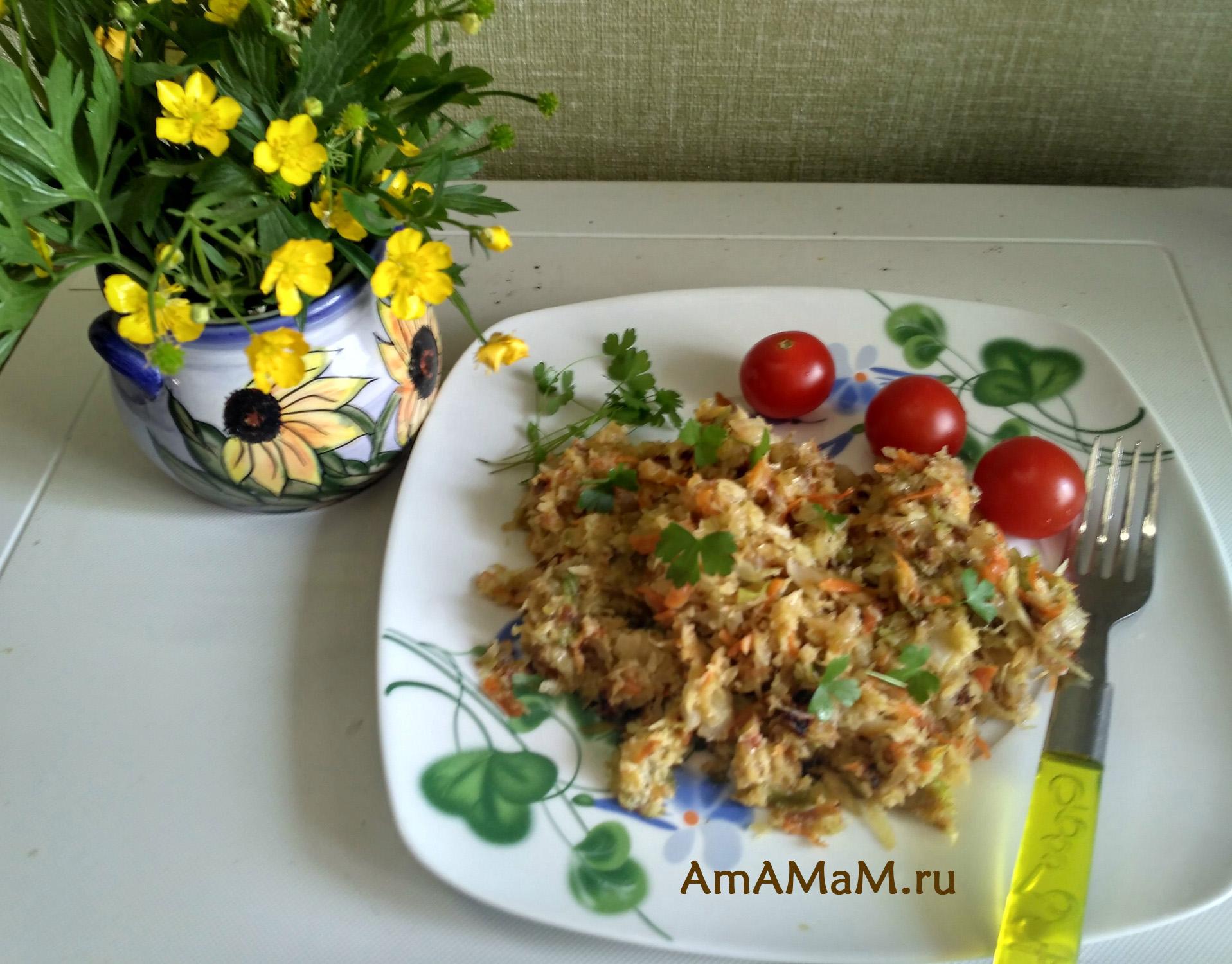 Вкусная жареная капуста в омлетной заливке из яйца и манки