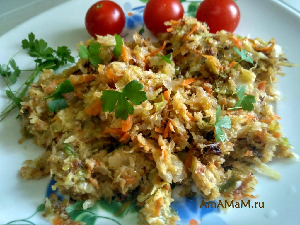 Жареная капуста в заливке из яйца и манки