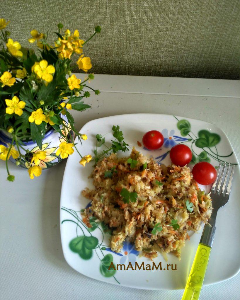 Рецепт капусты в манке и яйе