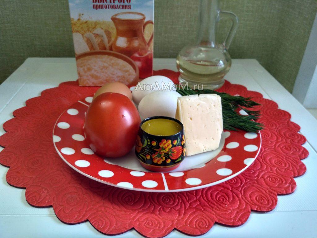 Ингредиенты овсяноблина с помидорами и сыром внутри