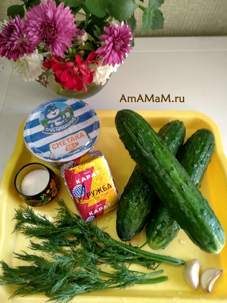 Ингредиенты рецепта огуречного салата