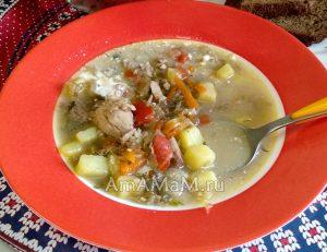 Вкусный картофельный суп с баклажанами