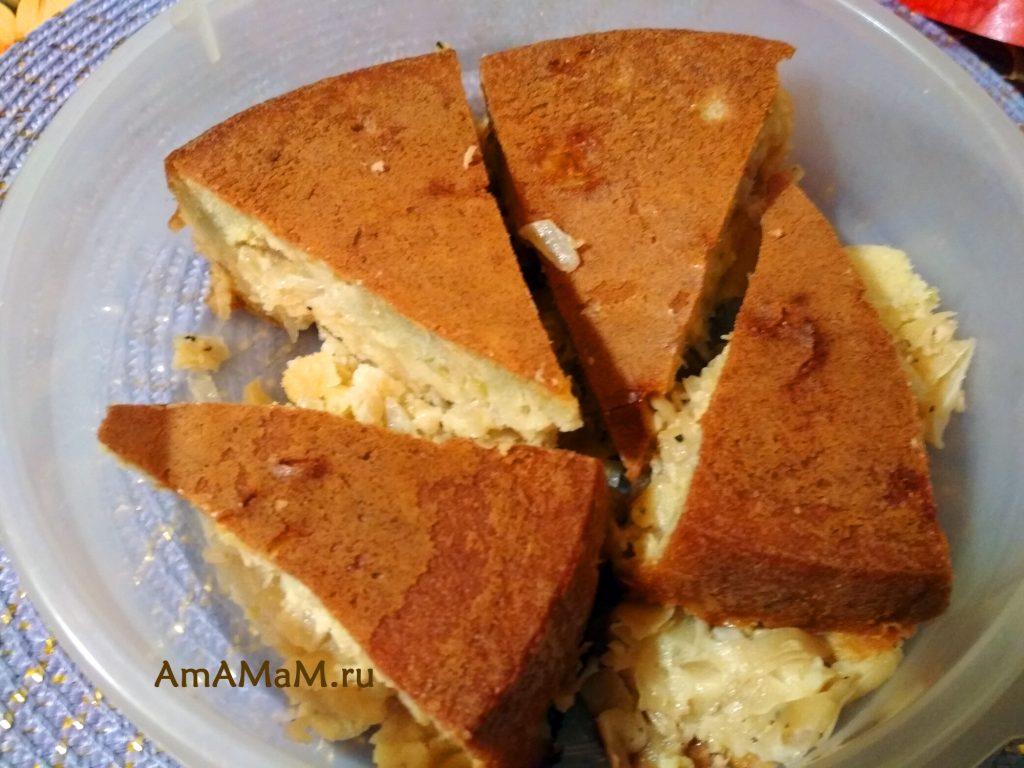 Пирог с капустой в заливном тесте - простой рецепт