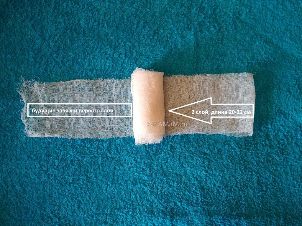 Второй слой маски из марли (бинта) без прошивки