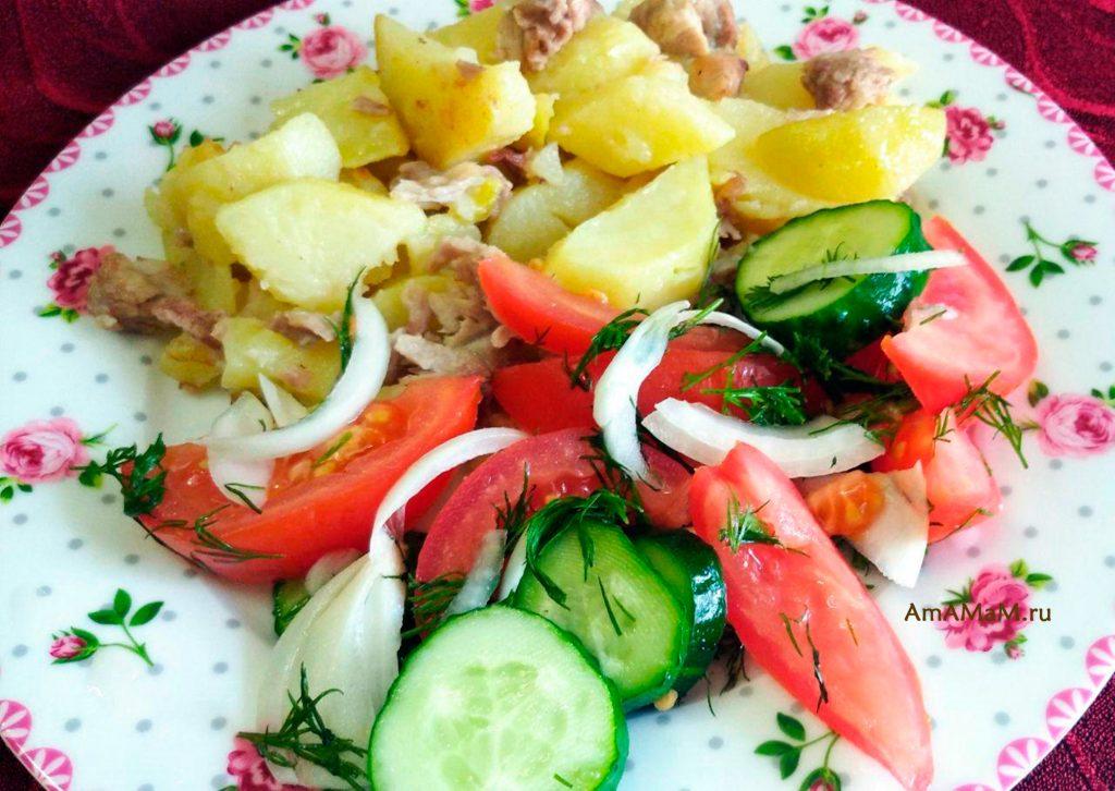 ЧТо рпиготовить из огурцов-помидоров - салат в минералке