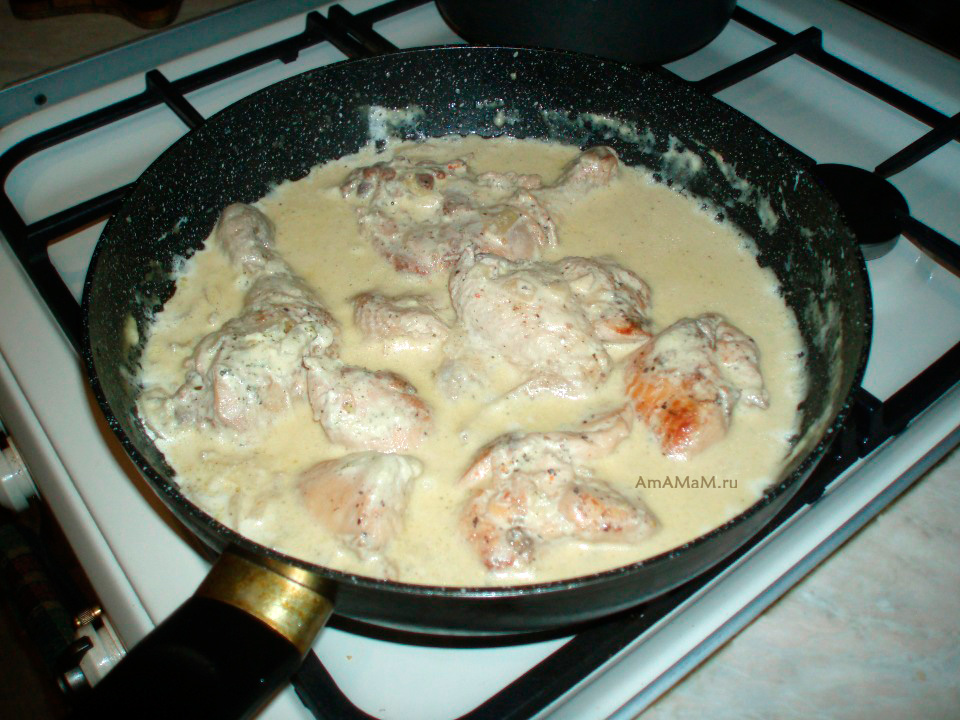 Тушеная курица в сметане по-грузински  - рецепт чкмерули