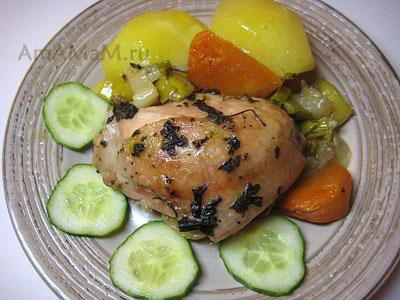 Курица, репа, лук, фенхель. картошка и огурцы - вкусная и простая еда!