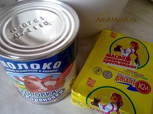 Состав продуктов для приготовления крема с вареной сгущенкой