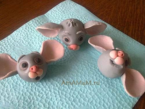 Как делать мышей из кондитерской мастики - фото
