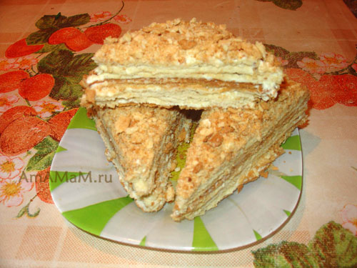 Торт наполеон масло и сгущенка