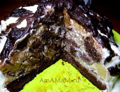 Торт Санчо Панса - сметанный крем и ананасы